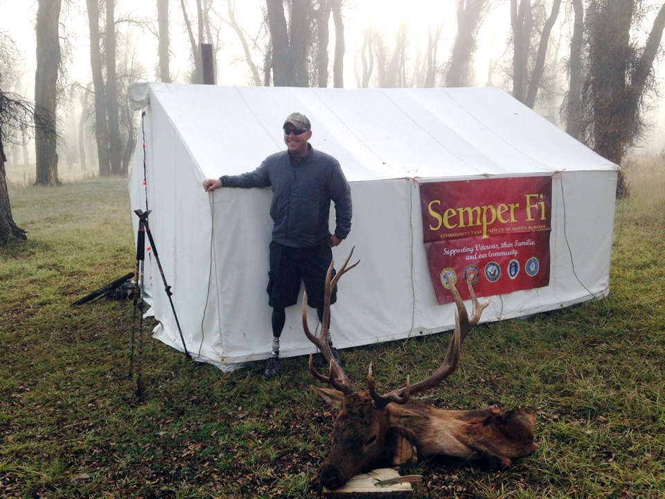 Sargent Shaun Meadows with trouphy elk